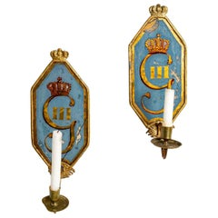 Pair of 18th Century Swedish Gustavian Glass Candleholder Wall Sconces