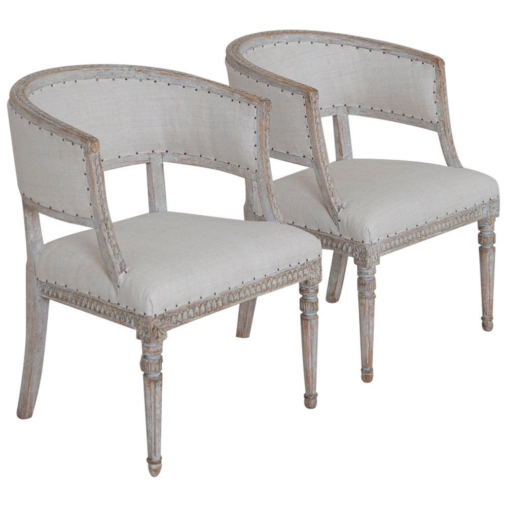 Pair of 18th Century Swedish Gustavian Period Original PaintSulla Chairs - Set 2
