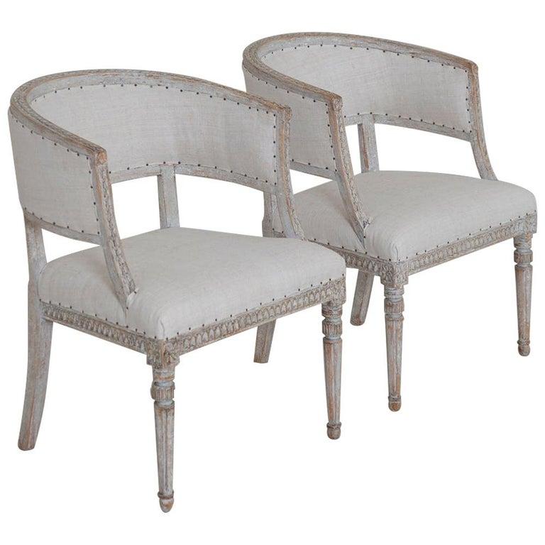 Pair of 18th Century Swedish Gustavian Period Original PaintSulla Chairs - Set 2 For Sale