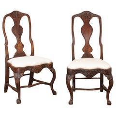 Pair of 18th Century Swedish Rococo Walnut Side Chairs with New Upholstery