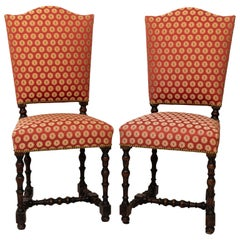 Pair of 18th Century Upholstered Side Chairs with Ebony Base