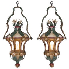 Pair of 18th Century Venetian Painted and Gilt Tole Lanterns