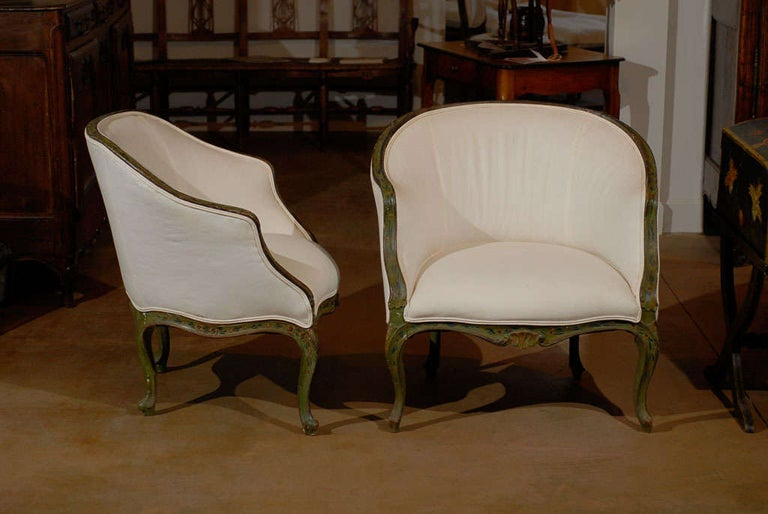 Pair of 18th century Venetian painted bergere chairs Louis XV style. Please note these items are antiques and are two of a kind.