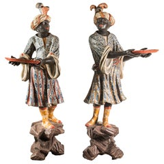 Pair of 18th Century Venetian Painted Sculptures, Lacquer, Rococò Venice Italy