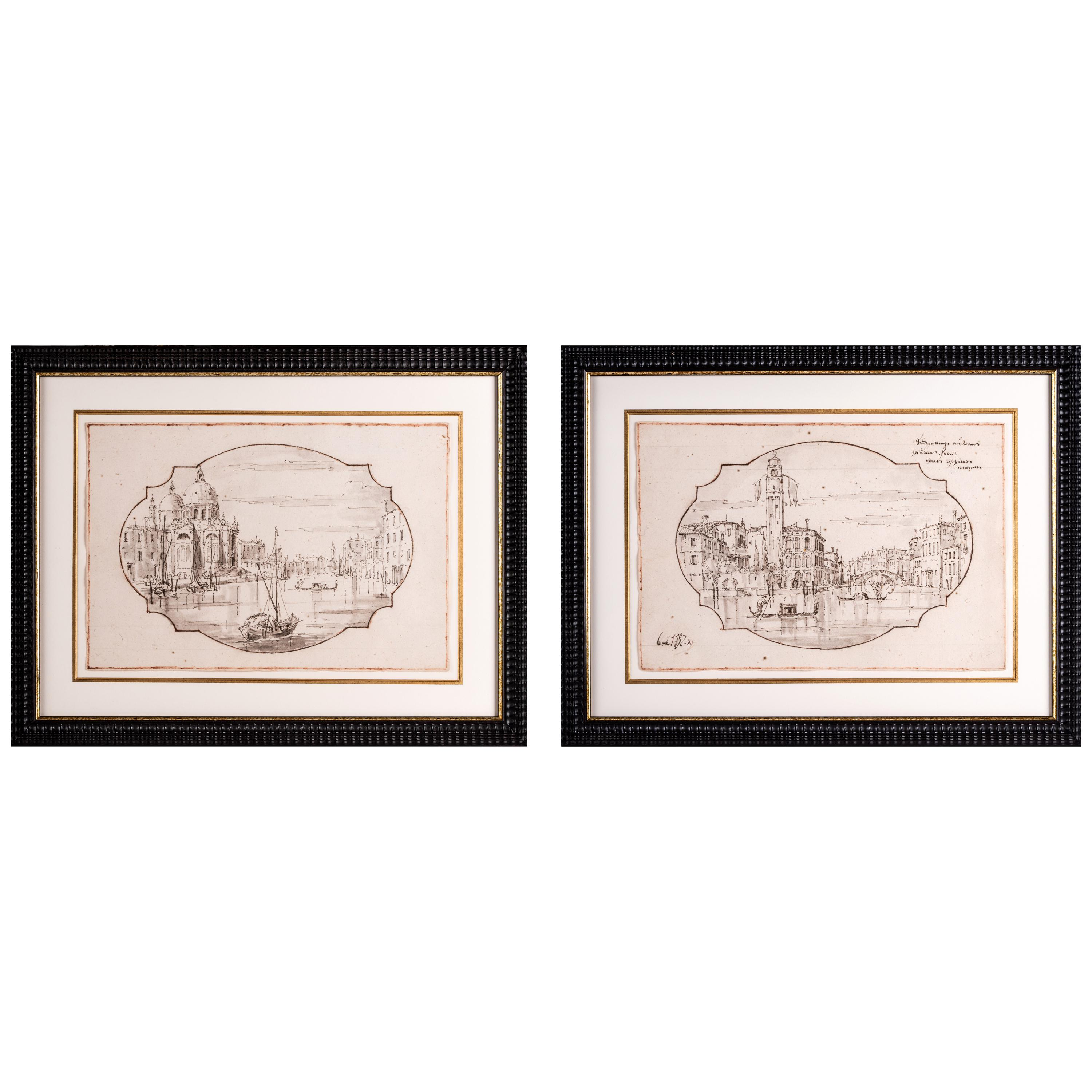 Pair of 18th Century Venetian Views of the Grand Canal