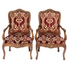 Pair of 18th Century Venetian Walnut Armchairs