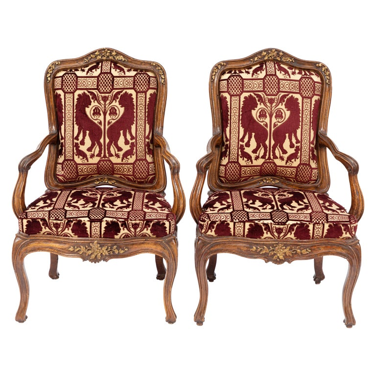 Pair of 18th Century Venetian Walnut Armchairs For Sale