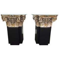 Pair of 18th Century White Marble and Gold Gilt Columns