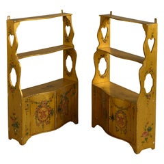 Pair of 18th Century Yellow Painted Hanging Shelves