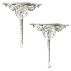 Pair of 18th or 19th Century Italian Painted Corner Wall Mount Console Tables