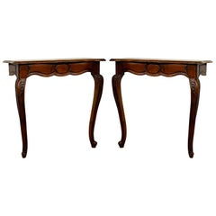 Pair of Late 18th Century Louis XV Walnut Console Table from Uzès, Provence