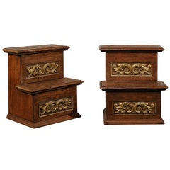 Pair of 18th-19th Century Italian Step Tables with Gilt and Old Elements