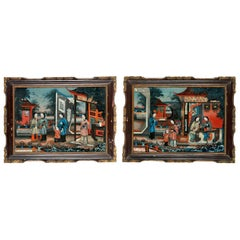 Pair of 19th Century Chinese Reverse-Painted Mirror Pictures