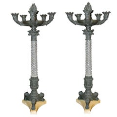 Pair of 19 Century French Empire Crystal Candlesticks