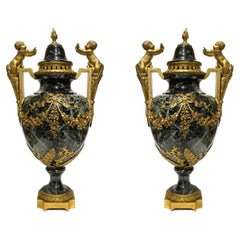 Pair of 19 Century French Louis XVI Style Gilt Bronzed Mounted Marble Urns