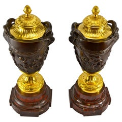 Pair of 19 Century Gilded and Patinated Bronze Cassolettes After Clodion