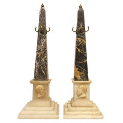 """Pair of 19 Century Grand Tour Marble and Alabaster Obelisks Socrates"""" & """"Diogine"""
