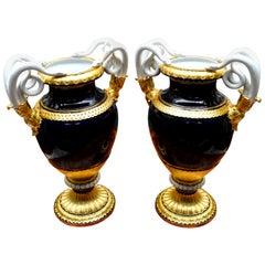 "Pair of 19th Century Meissen Snake Handled Cobalt Blue ""Schlangenvasen"" Vases"