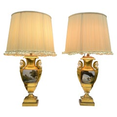 Pair of 19th Century Painted and Gilded Saxon Porcelain Landscape Vase Lamps
