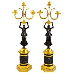 Pair of 19 Century Russian Empire Figural Bronze Candelabra