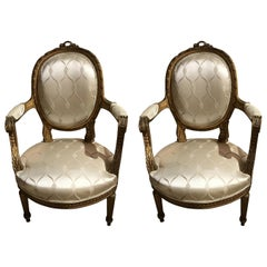 Pair of 19th Century Louis XVI Style Giltwood Chairs with New Upholstery