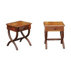 Pair of 1900s Anglo-Indian Low Side Tables with Curule Bases and Twisted Accents