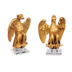Pair of 1900s French Carved Giltwood Eagle Sculptures Mounted on Lucite Bases