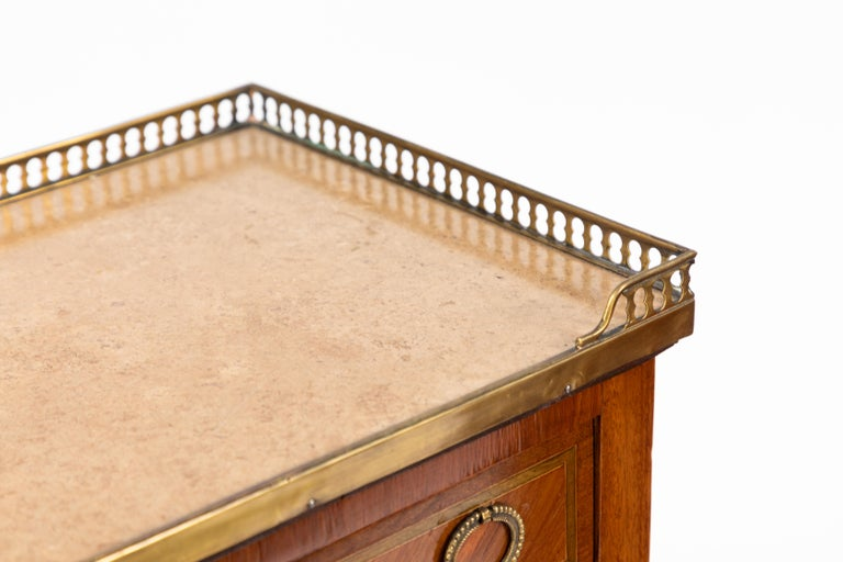 Hand-Crafted Pair of 1900s French Marble-Topped End Tables