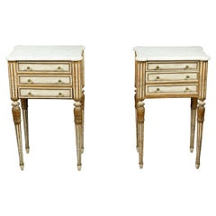 Pair of 1900s French Neoclassical Style Painted and Gilt Wood Bedside Tables