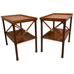 Pair of 1900s Georgian Style Sofa End Tables in Mahogany