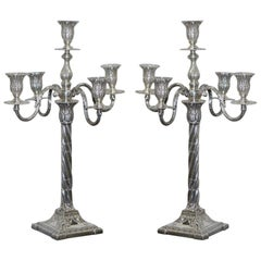 Pair of 1904 Antique Solid Sterling Silver Henry Wigfull Candelabra Candlesticks
