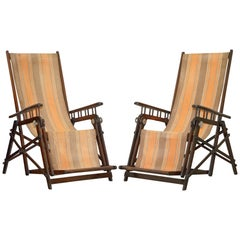 Pair of 1920 Art Deco French Asca Marque Ornate Steamer Folding Deck Armchairs