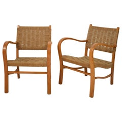 Pair of 1920 Bauhaus Beech and Woven Rope / Cane Armchairs by Erich Dieckmann