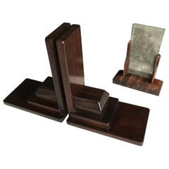 Pair of 1920s Amsterdam School Solid Mahogany and Dark Wood Large Bookends