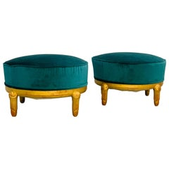 Pair of 1920s Art Deco Poufs Attributed to Maurice Dufrésne