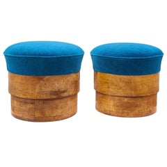 Pair of 1920's Art Deco Solid Fruitwood and Blue Mohair Stools, France, 1920's