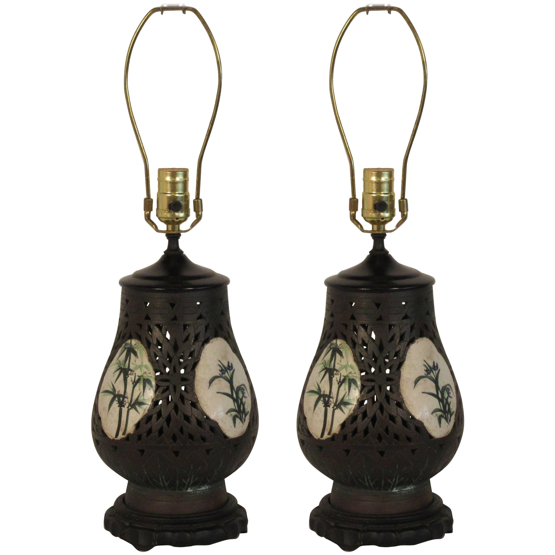 Pair of 1920s Asian Ceramic Porcelain Lamps