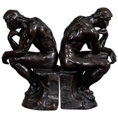 Pair of 1920s Bronze Bookends by Pompeian Bronze Co.