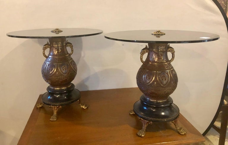 Chinese Pair of 1920s Bronze Urn Form Glass Top End or Pedestal Tables For Sale