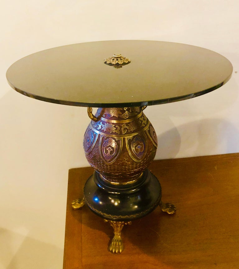Pair of 1920s Bronze Urn Form Glass Top End or Pedestal Tables For Sale 1