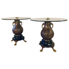 Pair of 1920s Bronze Urn Form Glass Top End or Pedestal Tables