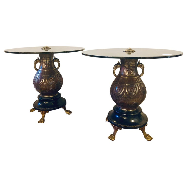 Pair of 1920s Bronze Urn Form Glass Top End or Pedestal Tables For Sale
