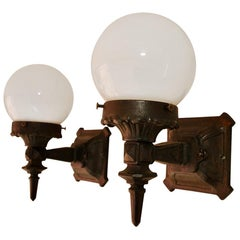 Pair of 1920s Cast Iron Outdoor Sconces