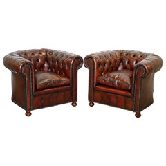 Pair of 1920s Chesterfield Hand Dyed Brown Leather Club Armchairs Walnut Feet