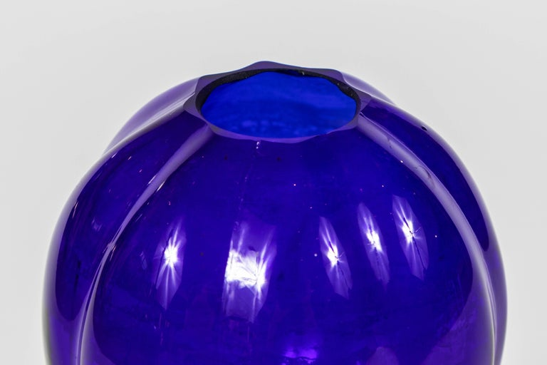 Pair of 1920s Cobalt Blue Glass Vases For Sale 2