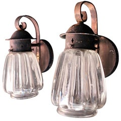 Pair of 1920s Copper Outdoor Sconces