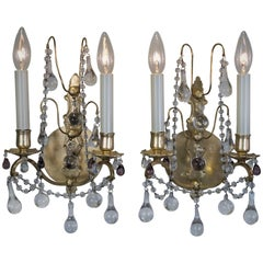 Pair of 1920s Crystal and Bronze Wall Sconces