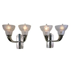 Pair of 1920s Double light Art Deco Wall Sconces by Degué