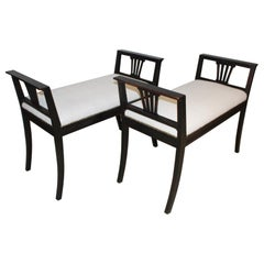 Pair of 1920s Ebonized Swedish High Sided Armed Stools seats in French Linen
