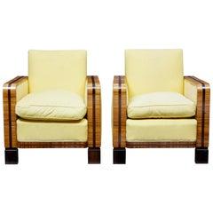 Pair of 1920s Elm Art Deco Club Armchairs